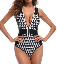 Load image into Gallery viewer, Vintage Black and White Pattern Swimsuit Monokini One Piece Swimwear With Zip