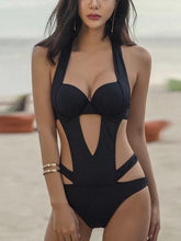 Load image into Gallery viewer, Plus Size Solid Color Black Sexy Special Designed One Piece Monokini