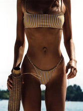Load image into Gallery viewer, Vintage Retro Stripe Two Piece Swimsuit Bikini Set