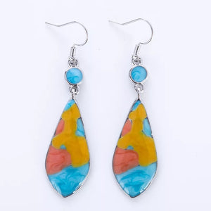 Retro Alloy Iridescent Stone Long Earrings