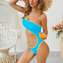 Load image into Gallery viewer, Solid Color Hollow One Shoulder Sexy One Piece Beachwear Monokini Swimsuit