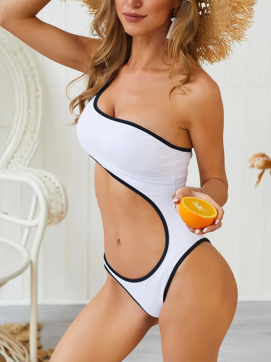 Solid Color Hollow One Shoulder Sexy One Piece Beachwear Monokini Swimsuit