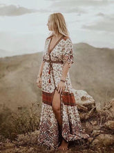 Load image into Gallery viewer, Vintage Print Floral Big Swing Dress Bohemian Style Holiday Beach Maxi Dress