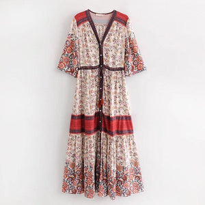 Vintage Print Floral Big Swing Dress Bohemian Style Holiday Beach Maxi Dress