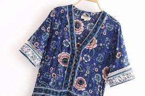 Holiday Style Beach Long Bohemia New Print Floral Buttoned Openwork Dress