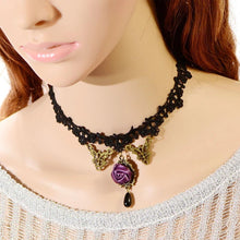 Load image into Gallery viewer, Rose lace necklace bohemia style fashion party necklace