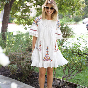 Bohemian Loose Embroidery Hippie Beach Mini Dresses