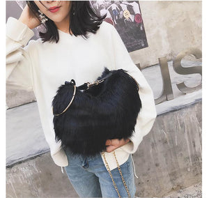 Autumn And Winter One Shoulder Slung Portable Plush Bucket Bag