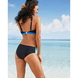 Sexy Swimsuit Solid Color Stitching High Waist Similia Bikini