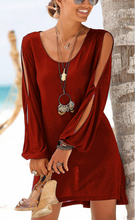 Load image into Gallery viewer, Casual Short Black Dress Swing Long Sleeve Slit  Beach Mini Dress-3