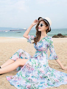 Pretty Bohemia Floral Half Sleeve Beach Maxi Dress
