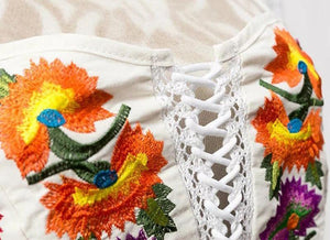 Summer Floral Embroidery Backless Bandage Beach Tops
