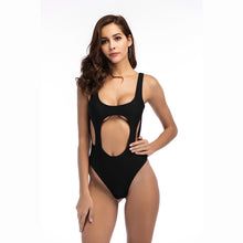 Load image into Gallery viewer, Solid Color Sexy Hollow Solid One-piece Swimwear