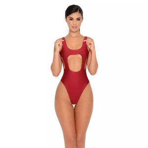 Solid Color Sexy Hollow Solid One-piece Swimwear