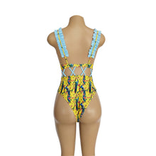 Load image into Gallery viewer, Waist Hollow Ruffled Strap Print Ins Style One Piece Swimsuit