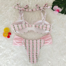 Load image into Gallery viewer, Resort Style Hang Neck Bow Color Block Bikini Set
