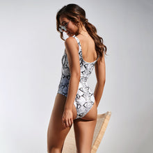 Load image into Gallery viewer, Two Colors Python Pattern Print One Piece Swimsuit