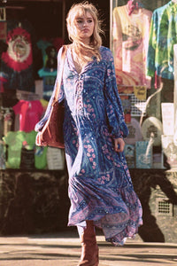Print V Neck Long Sleeve Bohemia Maxi Dress