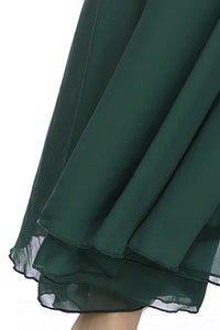 Hanging Neck Slim Dark Green Backless Sexy Big Swing Strap Beach Maxi Dress