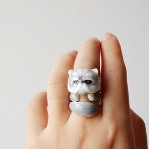 Cute Kitten Design 4 Pieces Enamel Rings Sets