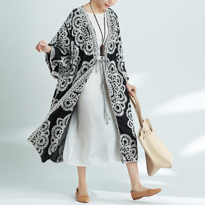 Plus-Size Increase Long Cardigan Tie Shawl National Style Retro Wild Sun Protection Clothing