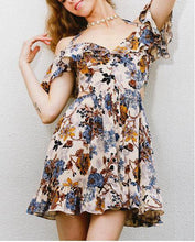 Load image into Gallery viewer, New summer cool V-neck print hanging neck strapless dress beach skirt