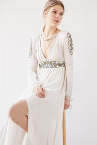 Bohemian Long Sleeve Embroidery Split Long Dress