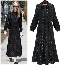 Load image into Gallery viewer, Polka Dot Long Sleeve Black Bowknot Bohemia Maxi Dress