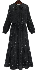 Polka Dot Long Sleeve Black Bowknot Bohemia Maxi Dress