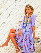 Load image into Gallery viewer, Embroidered Long Sleeve V Neck Boho Maxi Dress