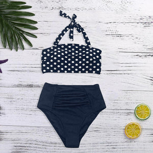 Women Bikini Set Halter Vest Beach High Waist Dot Swimwear