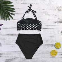Load image into Gallery viewer, Women Bikini Set Halter Vest Beach High Waist Dot Swimwear