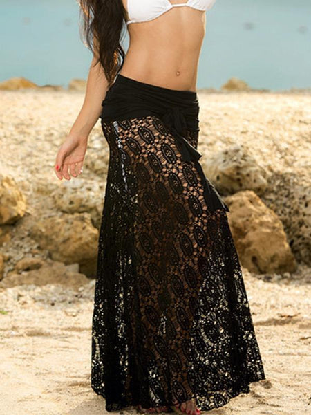 Solid Color Black or White Lace Hollow Maxi Skirt Bottom Two wear Ways