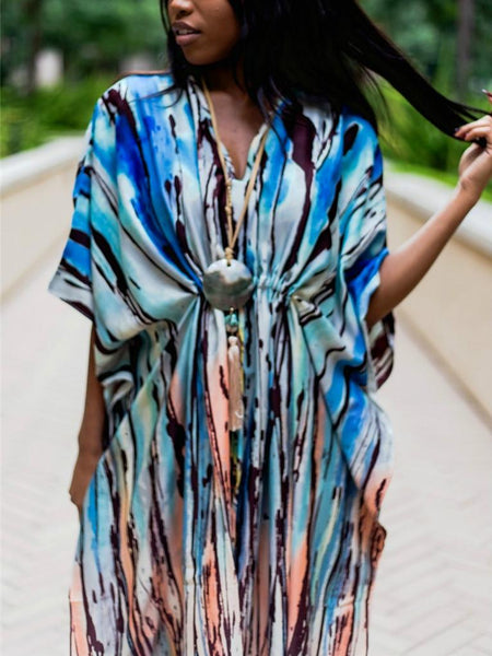 Vertical Stripe Halo Satruated Beach Bikini Cover Up