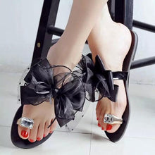 Load image into Gallery viewer, Big Size Butterflyknot Lace Bead Crystal Clip Toe Flat Flip Flops Sandals