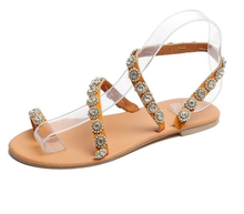 Load image into Gallery viewer, Summer Bohemian Beach Beading Flat Sandals Shoes