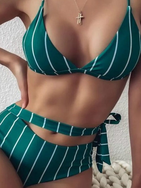 Striped Crossband Swimwear Sexy Backpiece High Waist Bikini