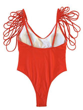 Load image into Gallery viewer, Sexy Backless Tassels Solid Color One-piece Swimwear
