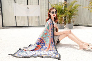 Black Mandala National Style Vacation Printing Sunscreen Scarf Shawl Beach Towel