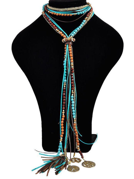 Fashion Metal Beads Tassel Necklace Sweater Chain