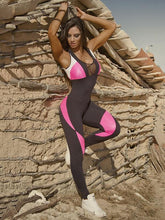 Load image into Gallery viewer, Sport Color Block Camo Mesh Paneled Sports Jumpsuits