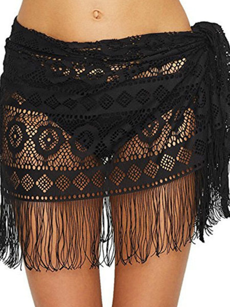 Tassel Sexy Lace Beach Sunbreaker Hollowed-out Skirt Bikini Top