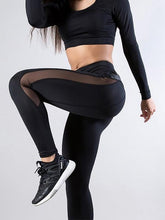 Load image into Gallery viewer, Sports Imitation Leather Panel Leggings