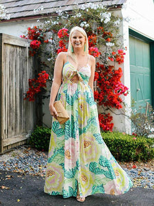 Print Spaghetti Strap Split Bohemia Maxi Dress