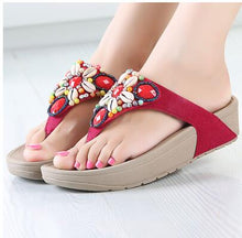 Load image into Gallery viewer, Fashion Newest Rhinestone Shell Beading Women's Beach Flip Flops Bohemian Sandals Slipper Platform Wedge Flip Flops Shoes Woman