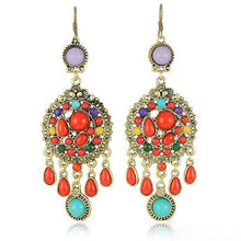 Load image into Gallery viewer, Ethnic Colorful Stone Big Gypsy Drop Fashion Bohemian Vintage Earrings