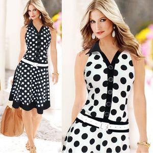 Women Fashion Polka Dot Sleeveless V-neck Print Dress MIDI Dresses