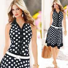 Load image into Gallery viewer, Women Fashion Polka Dot Sleeveless V-neck Print Dress MIDI Dresses