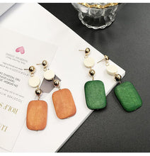 Load image into Gallery viewer, Brincos Long Earrings Bijoux Round Wood Square Dangle Drop Earrings