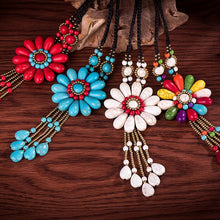 Load image into Gallery viewer, Women Boho Long Natural Stone Tassel Flower Vintage Ethnic Style Statement Necklace